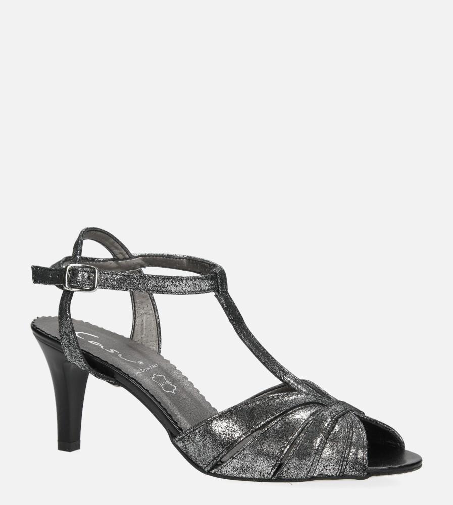 Czarne sandały skórzane t-bar Casu 323 model 323