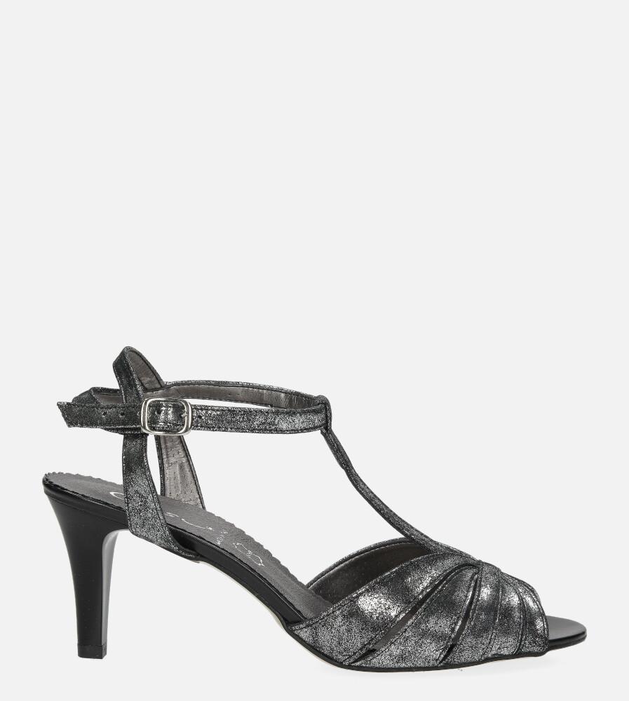 Czarne sandały skórzane t-bar Casu 323 wysokosc_obcasa 8 cm