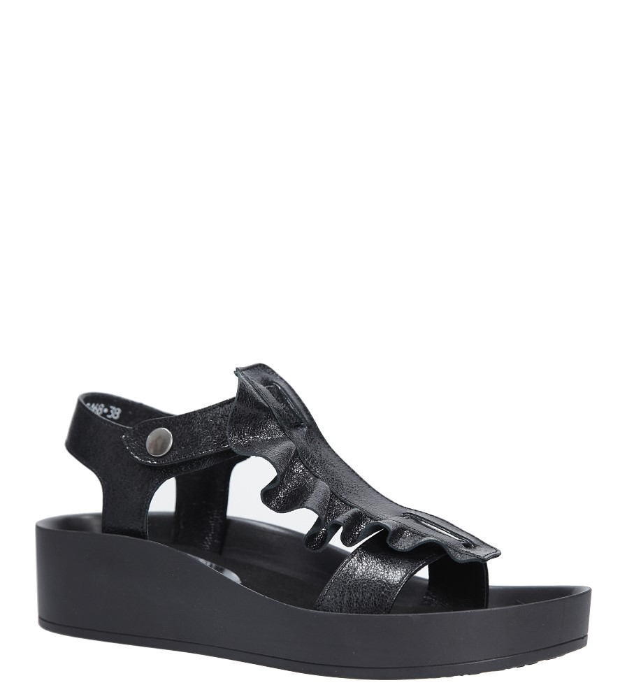 Czarne sandały skórzane z falbanką Karino 2468/076-P