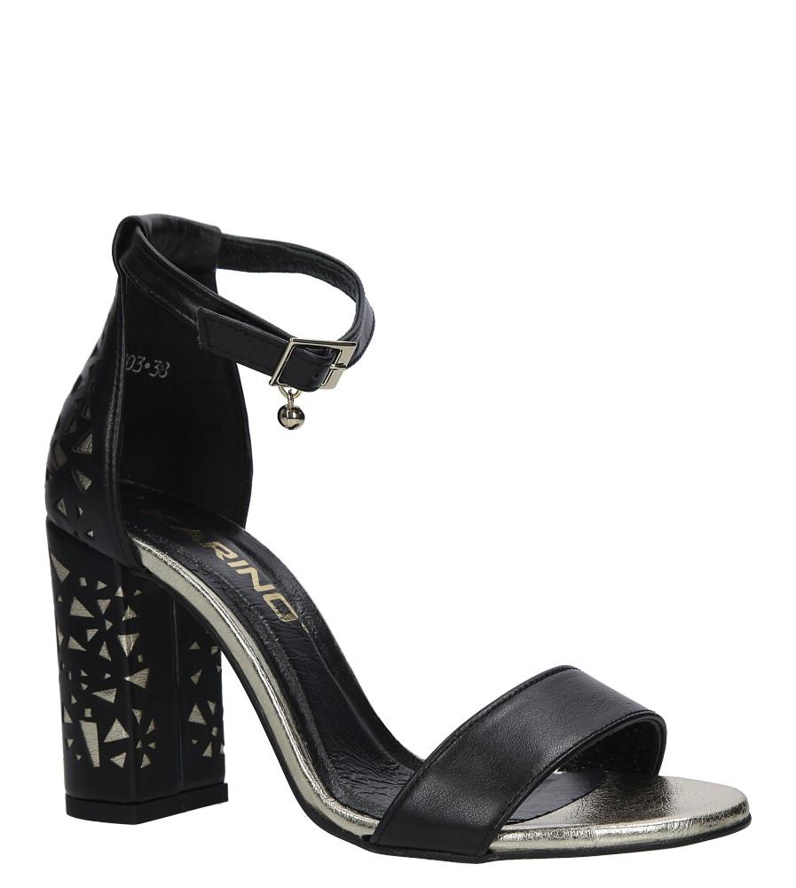 Czarne sandały skórzane z paskiem wokół kostki na ozdobnym obcasie Karino 2403/151-P