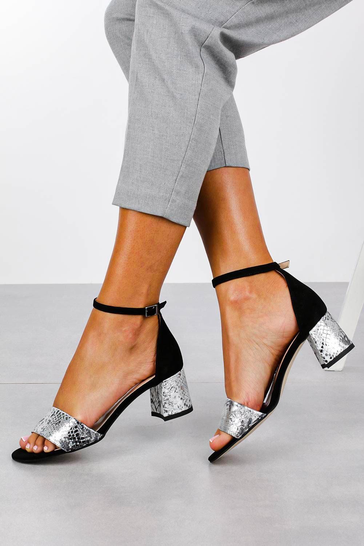 Czarne sandały skórzane z paskiem wokół kostki na szerokim ozdobnym słupku Casu DS-252/A sezon Lato