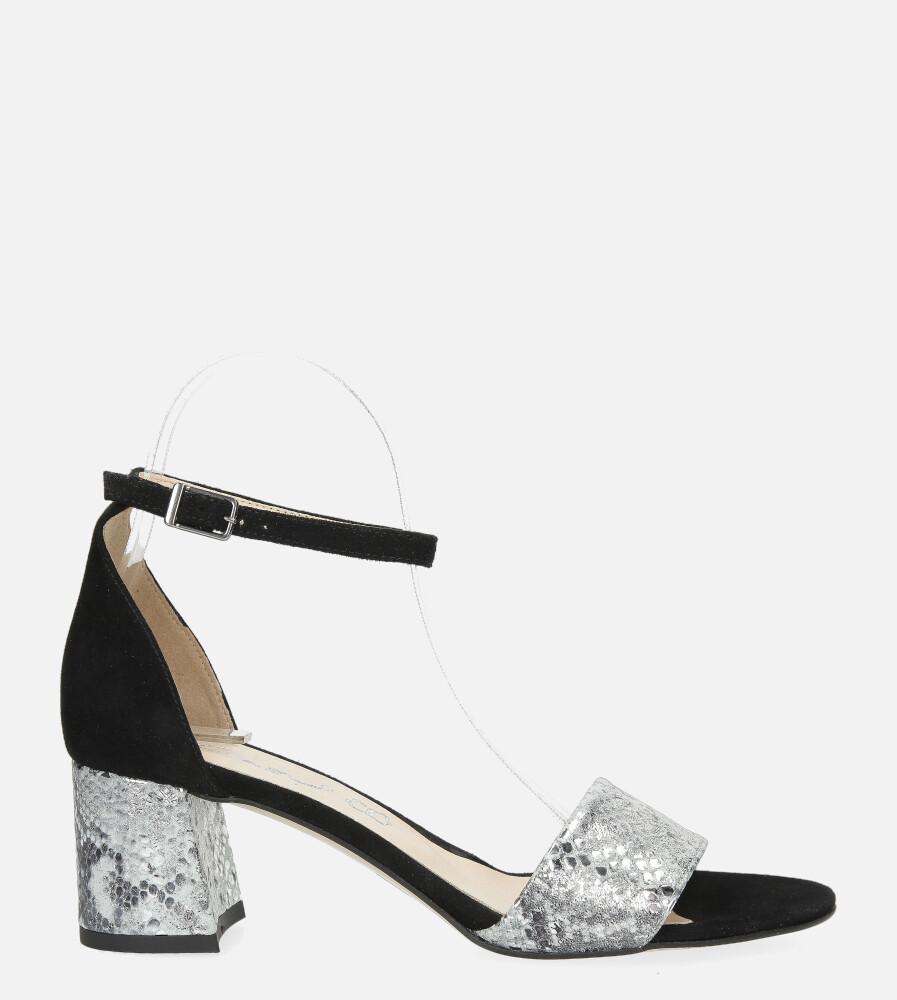 Czarne sandały skórzane z paskiem wokół kostki na szerokim ozdobnym słupku Casu DS-252/A wysokosc_platformy 0.5 cm