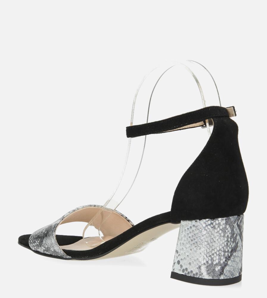 Czarne sandały skórzane z paskiem wokół kostki na szerokim ozdobnym słupku Casu DS-252/A wys_calkowita_buta 15 cm
