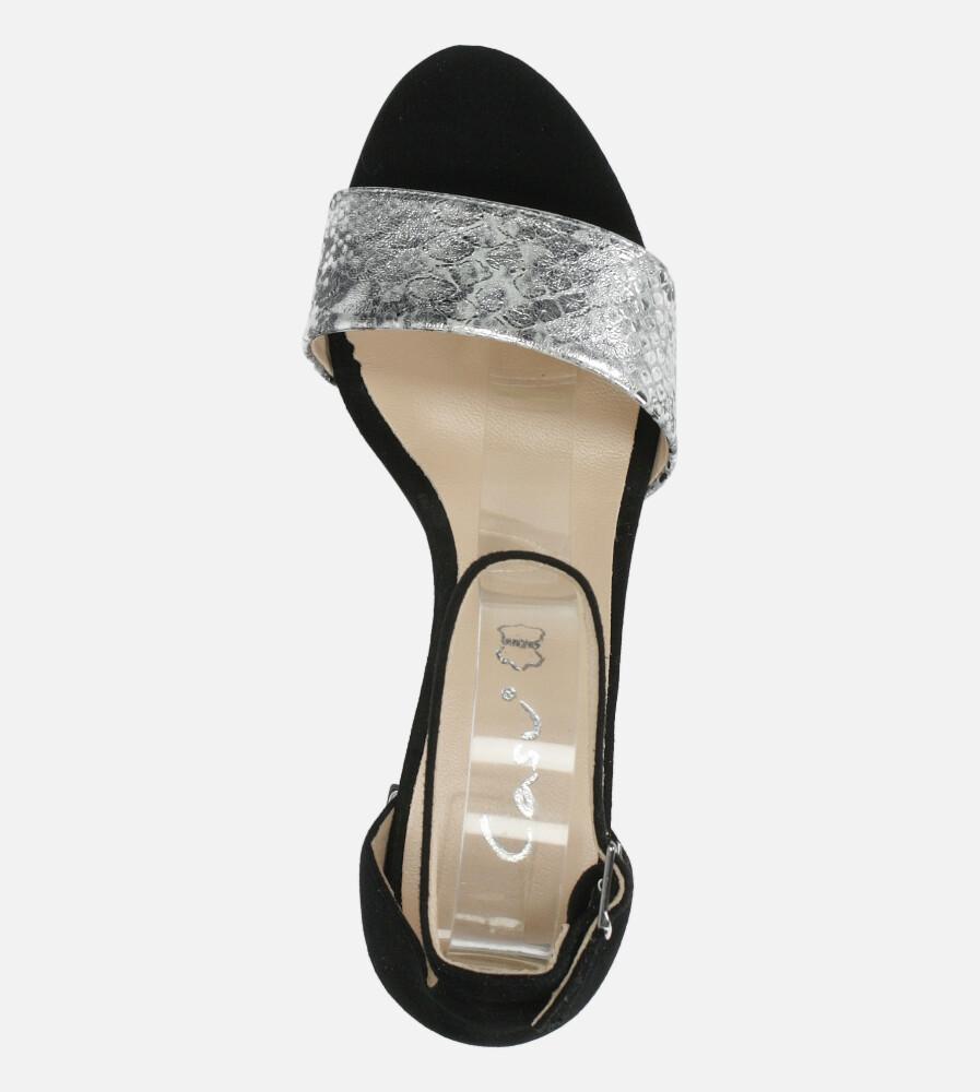 Czarne sandały skórzane z paskiem wokół kostki na szerokim ozdobnym słupku Casu DS-252/A wierzch skóra naturalna - zamsz/licowa