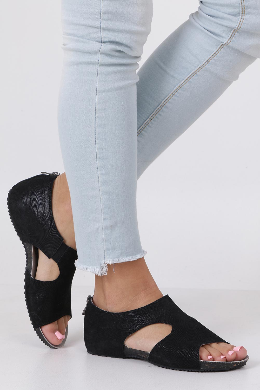 a98c2dcaab6e Czarne sandały skórzane z zakrytą piętą Casu DS071 19BK ...