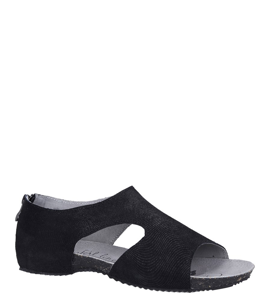 Czarne sandały skórzane z zakrytą piętą Casu DS071/19BK