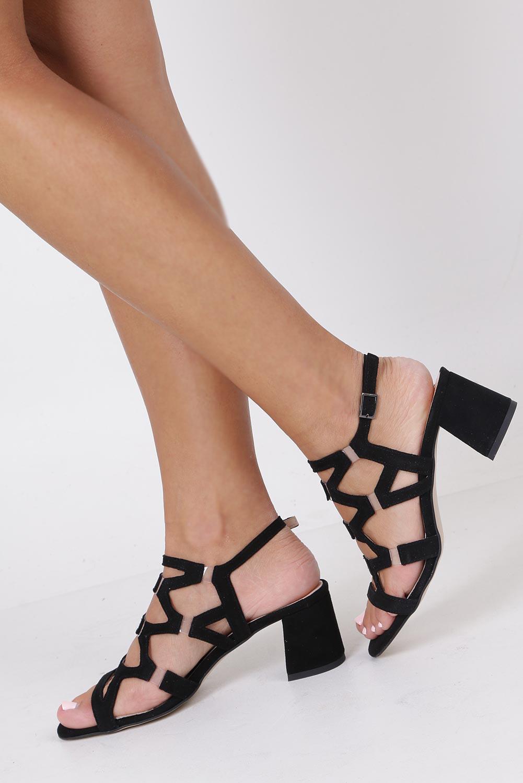 Czarne sandały skórzane zamszowe na szerokim słupku Casu DS-196/A producent Casu
