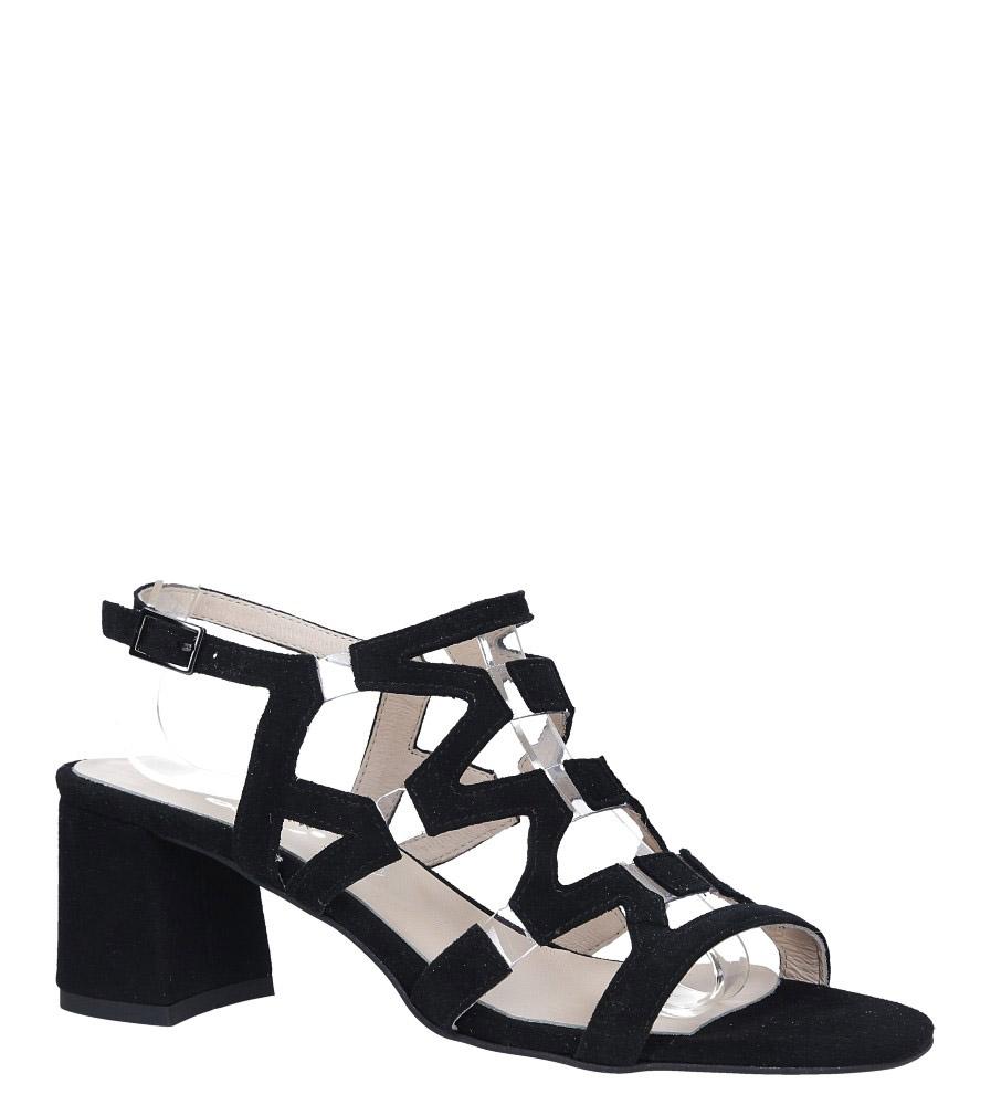 Czarne sandały skórzane zamszowe na szerokim słupku Casu DS-196/A