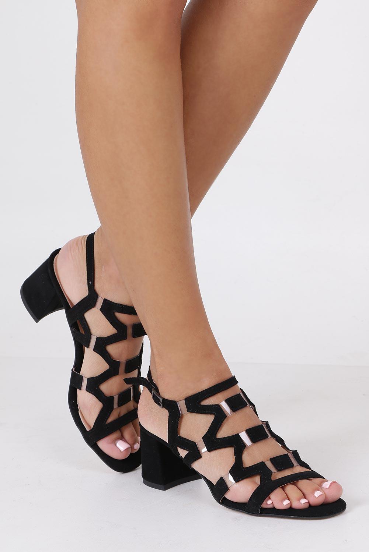 Czarne sandały skórzane zamszowe na szerokim słupku Casu DS-196/A sezon Lato