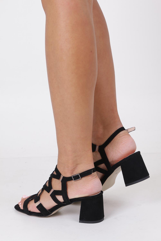 Czarne sandały skórzane zamszowe na szerokim słupku Casu DS-196/A wysokosc_obcasa 6.5 cm