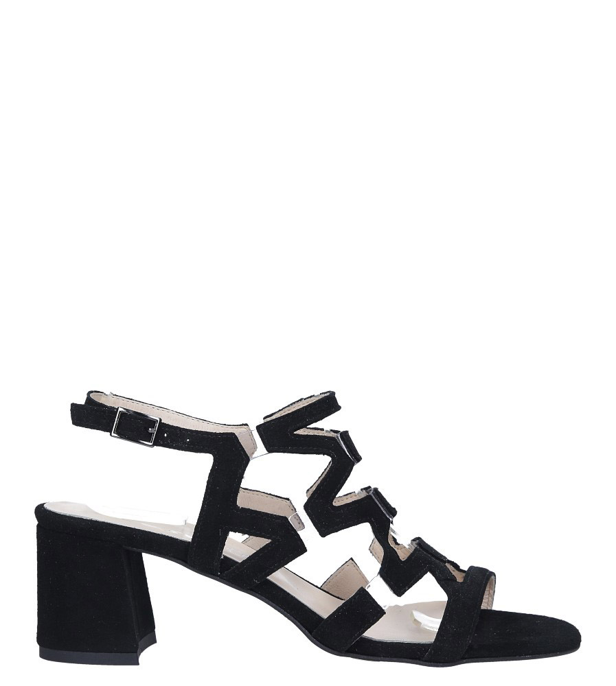 Czarne sandały skórzane zamszowe na szerokim słupku Casu DS-196/A wysokosc_platformy 0.5 cm