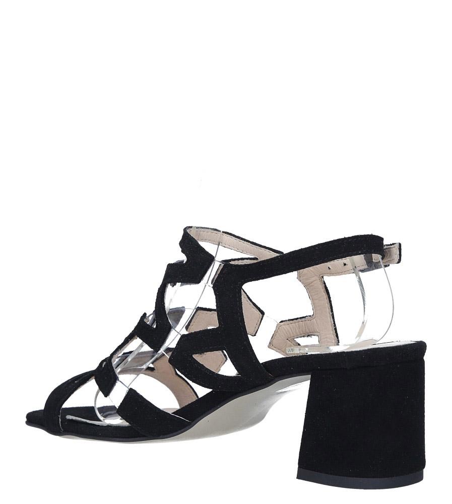 Czarne sandały skórzane zamszowe na szerokim słupku Casu DS-196/A wys_calkowita_buta 14 cm
