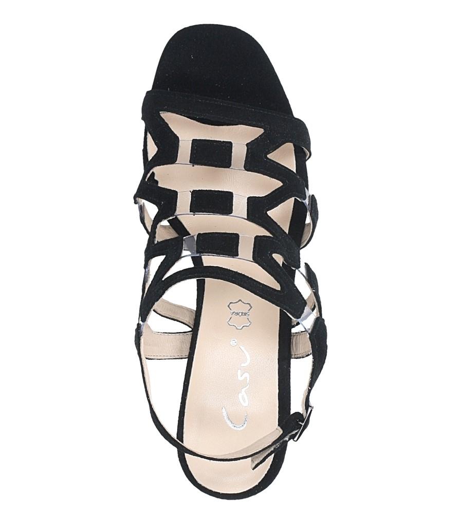 Czarne sandały skórzane zamszowe na szerokim słupku Casu DS-196/A wierzch skóra naturalna - zamsz