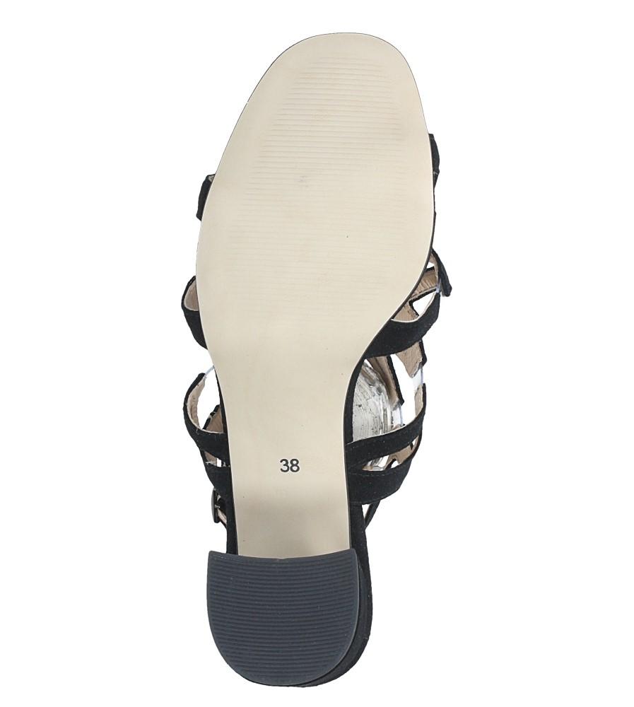 Czarne sandały skórzane zamszowe na szerokim słupku Casu DS-196/A wnetrze skóra