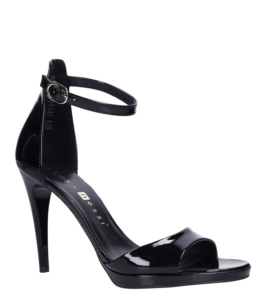 Czarne sandały szpilki skórzane lakierowane Jacob z paskiem wokół kostki Nessi JC022 model JC022