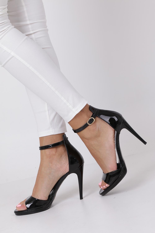 Czarne sandały szpilki skórzane lakierowane Jacob z paskiem wokół kostki Nessi JC022 kolor czarny