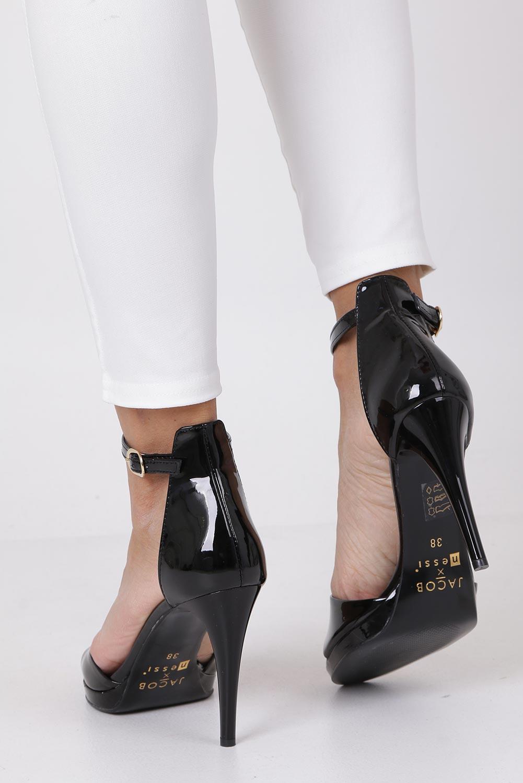 Czarne sandały szpilki skórzane lakierowane Jacob z paskiem wokół kostki Nessi JC022 wysokosc_obcasa 10.5 cm