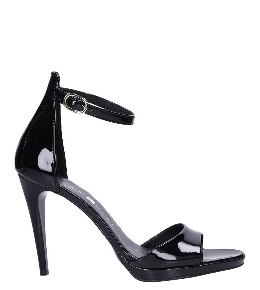 Czarne sandały szpilki skórzane lakierowane Jacob z paskiem wokół kostki Nessi JC022 wysokosc_platformy 1.5 cm