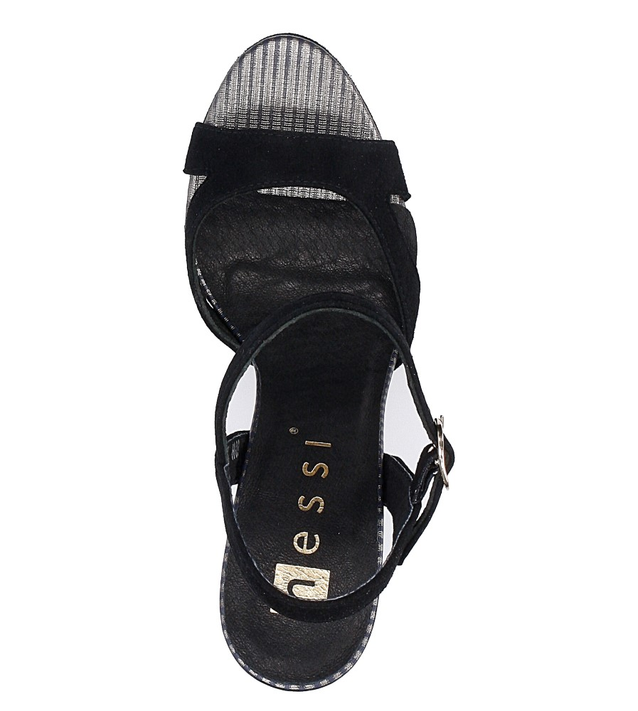Czarne sandały szpilki skórzane Nessi 18384 wysokosc_platformy 2 cm