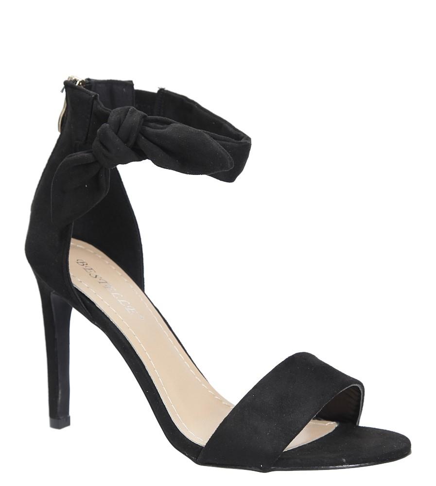 Czarne sandały szpilki z kokardą Casu S-338