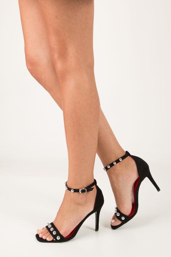 Czarne sandały szpilki z nitami Casu ZY118