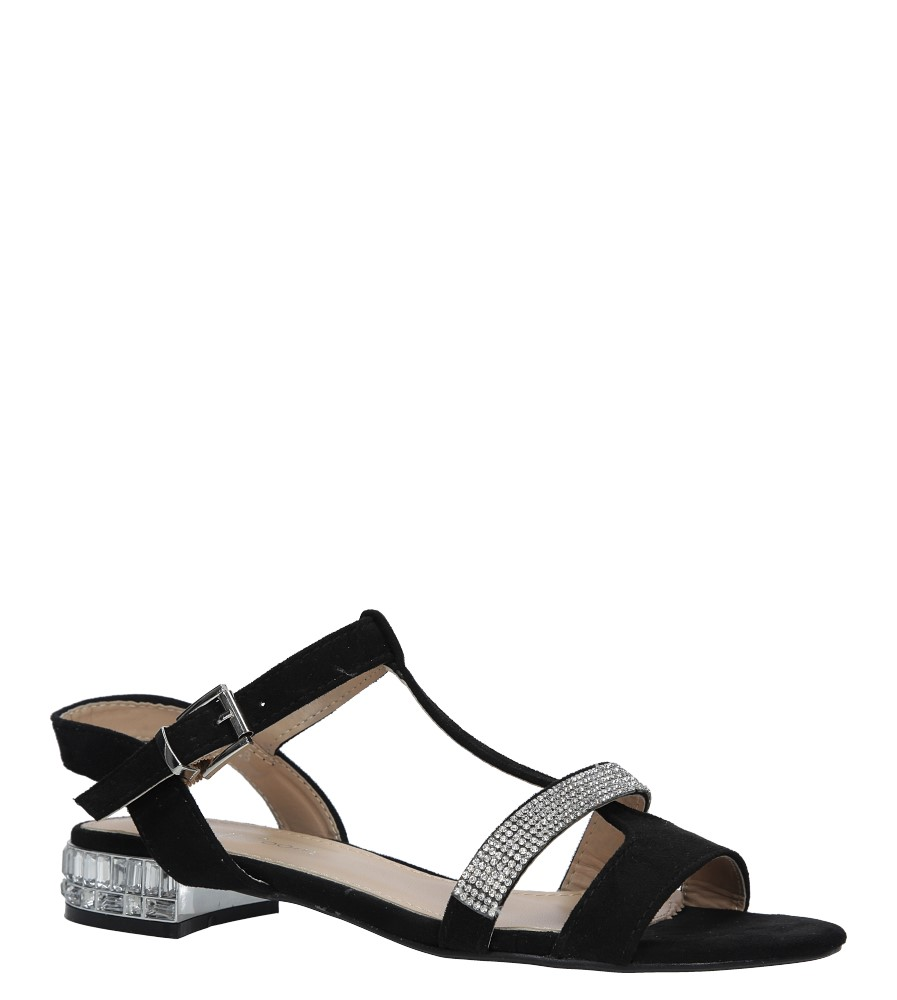 Czarne sandały z cyrkoniami na niskim ozdobnym obcasie Casu 58-569