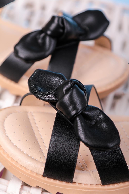 Czarne sandały z kokardą na rzep Casu HY-17