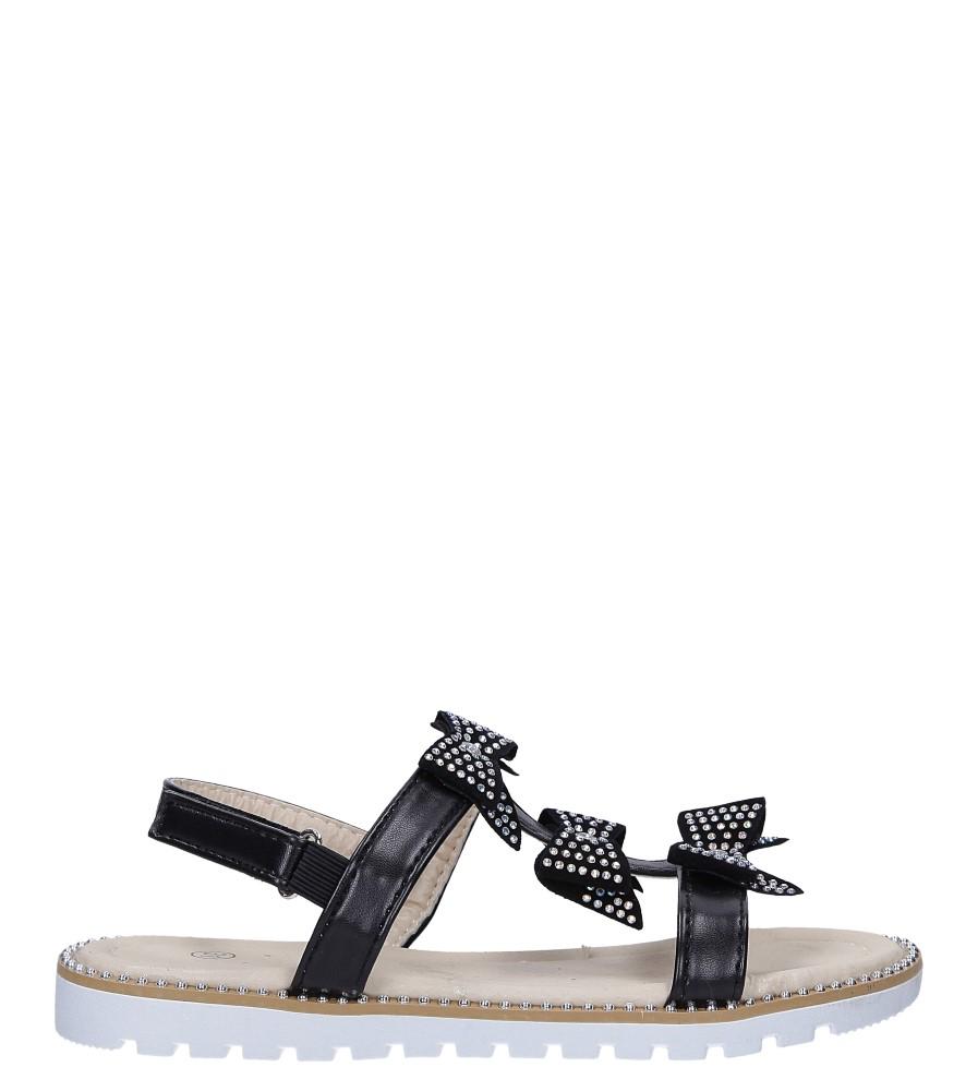 Czarne sandały z kokardką i cyrkoniami na rzep Casu 8957C