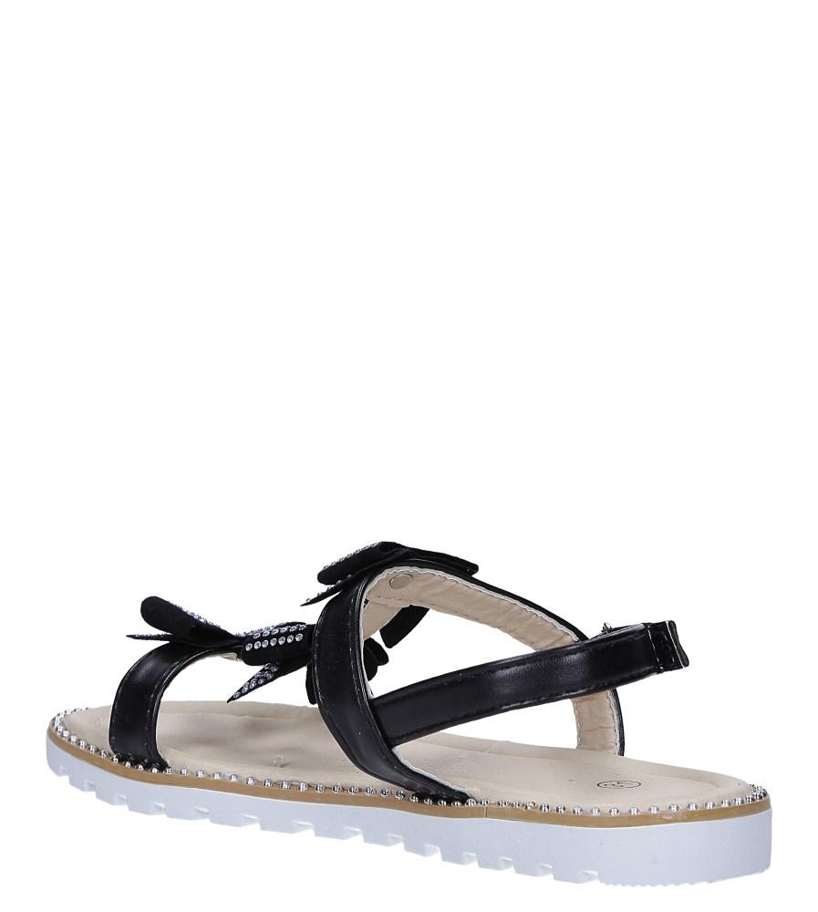 Czarne sandały z kokardką i cyrkoniami na rzep Casu 8957C sezon Lato