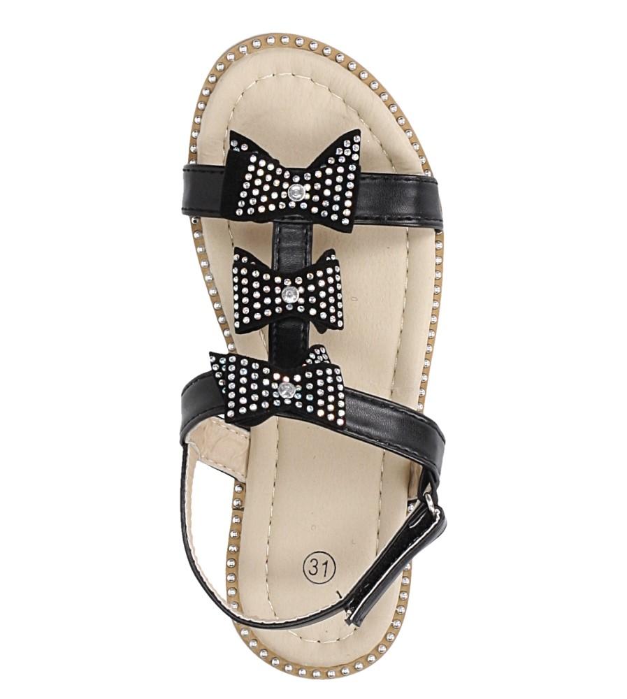 Czarne sandały z kokardką i cyrkoniami na rzep Casu 8957C kolor czarny