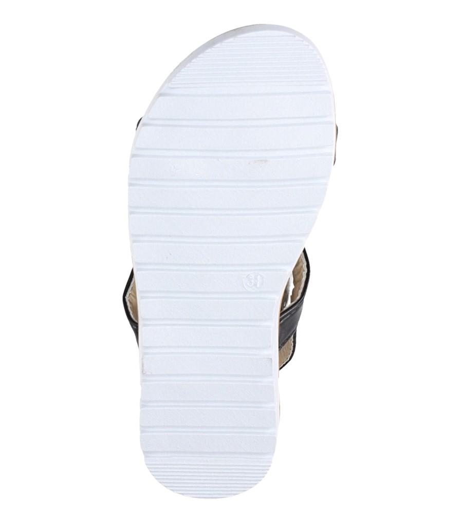 Czarne sandały z kokardką i cyrkoniami na rzep Casu 8957C wysokosc_obcasa 1.5 cm