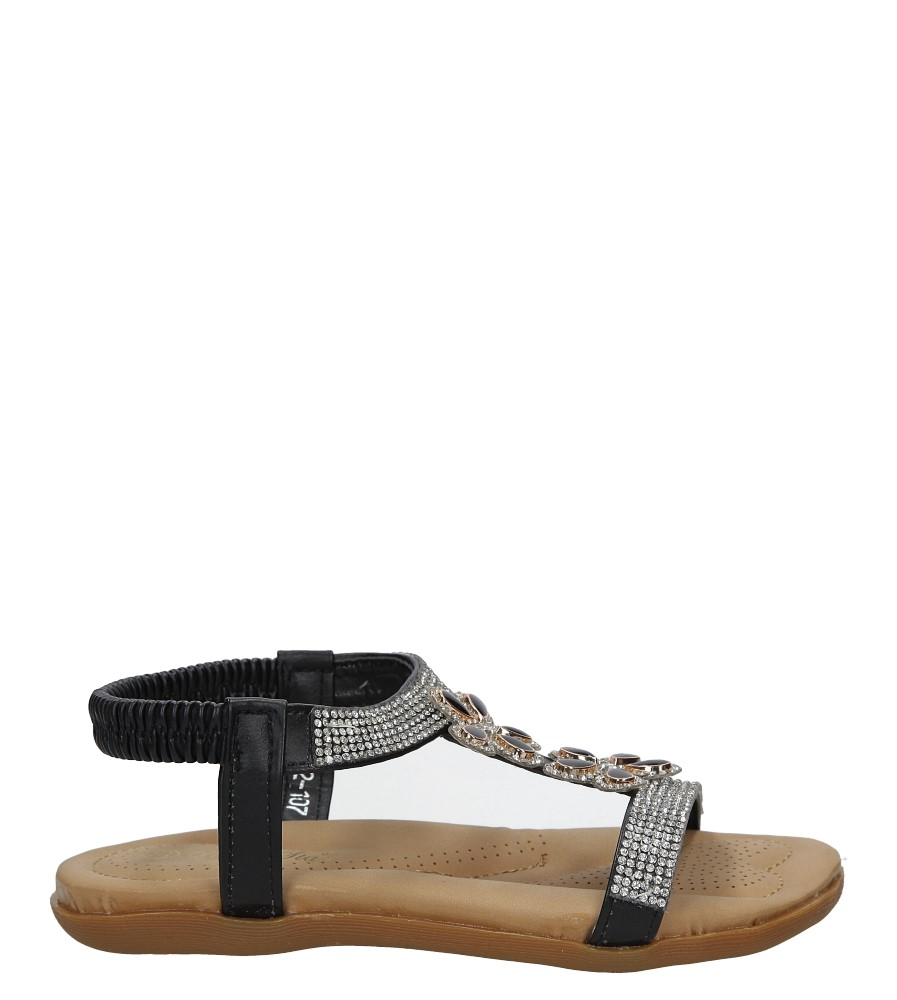 Czarne sandały z kryształkami Casu E22-107