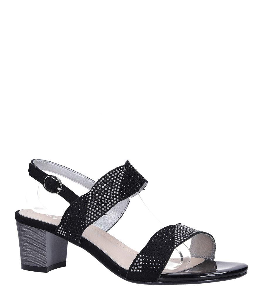 Czarne sandały z kryształkami na ozdobnym słupku Sergio Leone SK795