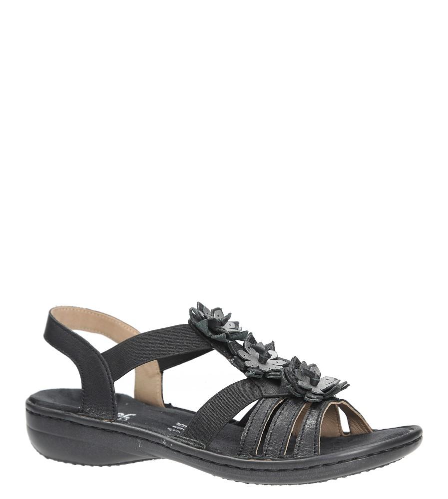 Czarne sandały z kwiatkami Rieker 60858-00