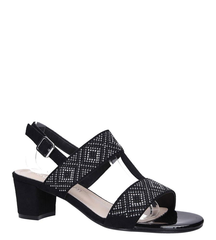 Czarne sandały z nitami na szerokim niskim słupku Sergio Leone SK799 czarny