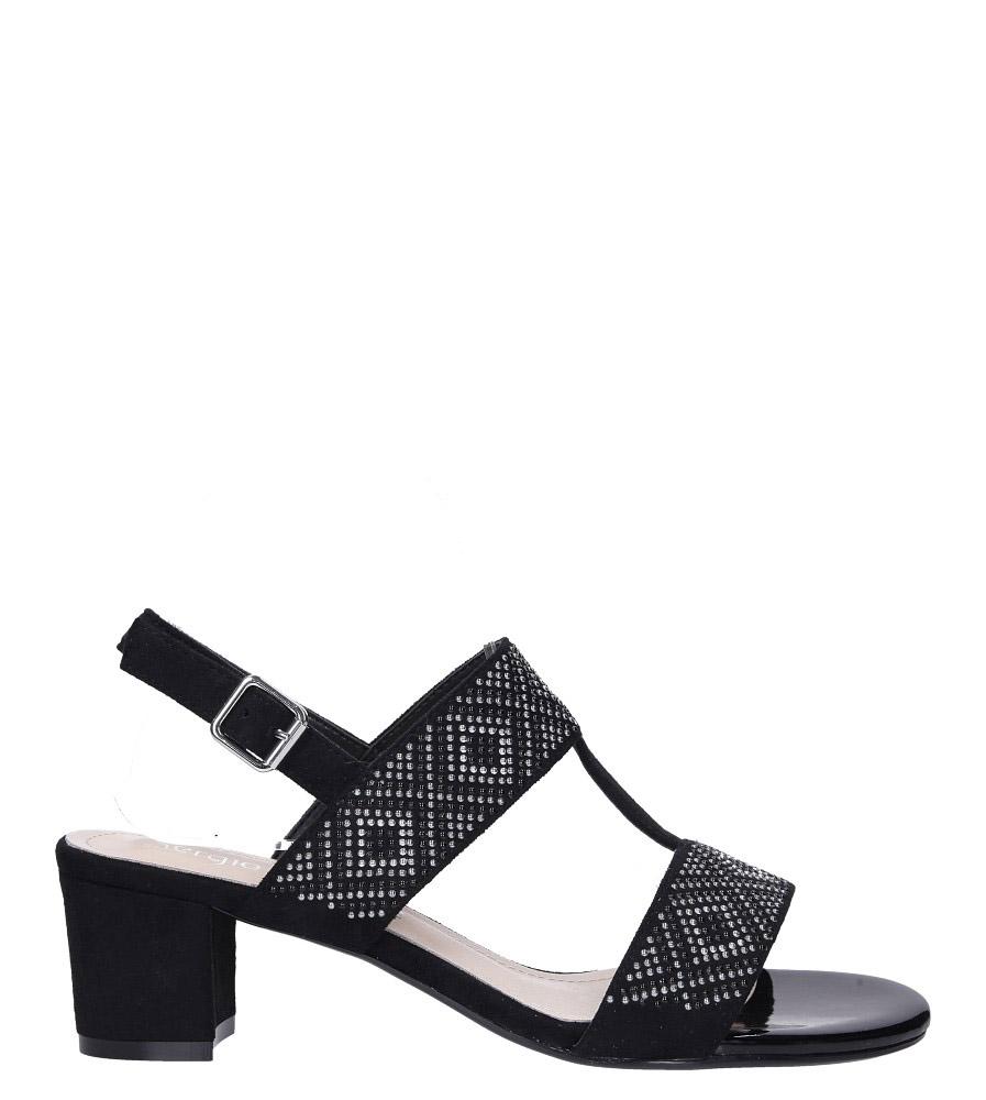 Czarne sandały z nitami na szerokim niskim słupku Sergio Leone SK799 wysokosc_platformy 1 cm