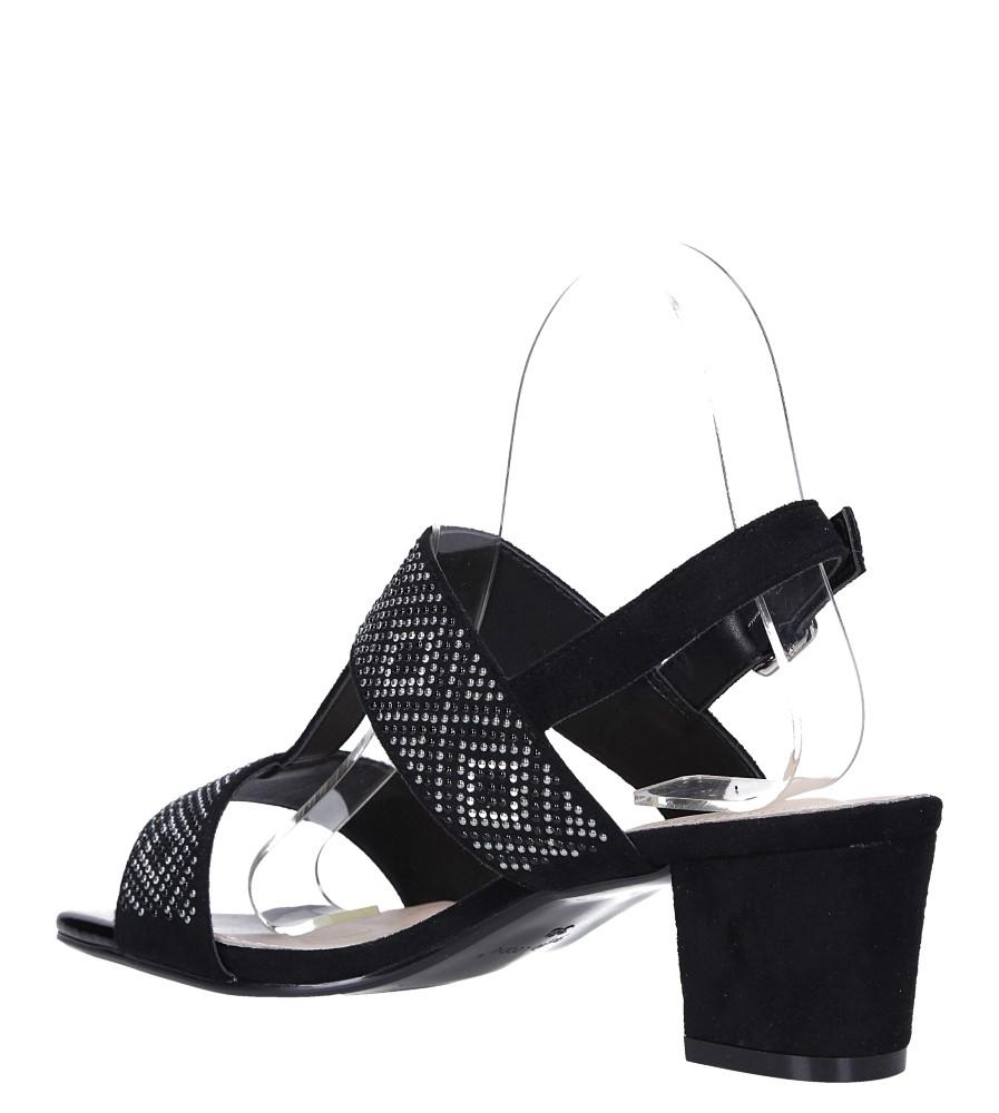 Czarne sandały z nitami na szerokim niskim słupku Sergio Leone SK799 wys_calkowita_buta 13 cm