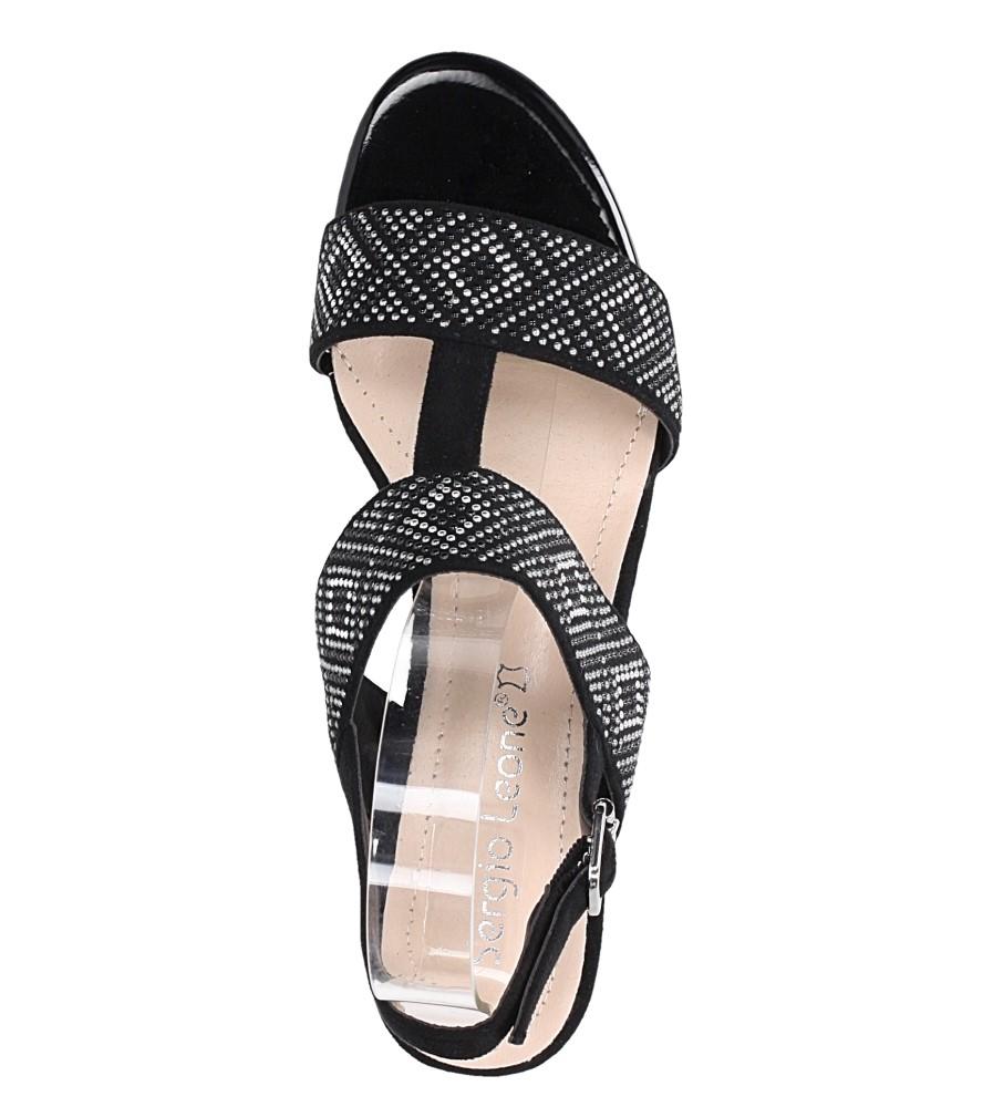 Czarne sandały z nitami na szerokim niskim słupku Sergio Leone SK799 wierzch zamsz ekologiczny