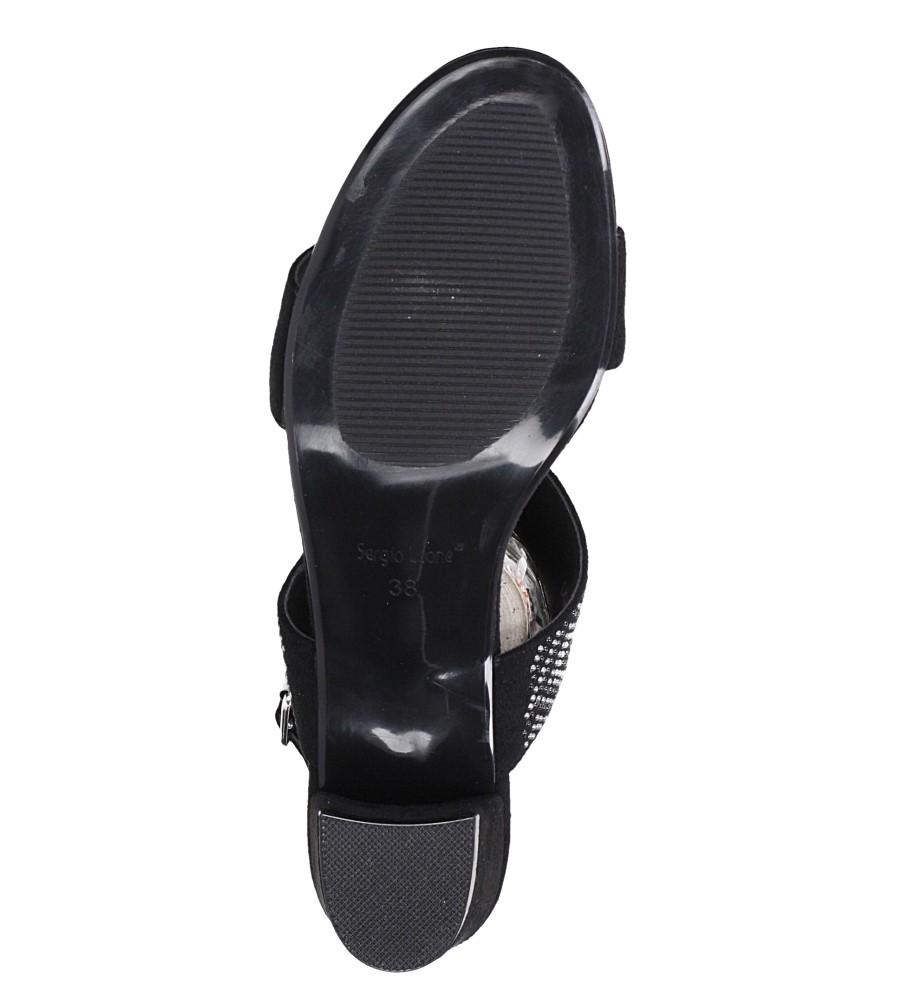 Czarne sandały z nitami na szerokim niskim słupku Sergio Leone SK799 wnetrze skóra ekologiczna