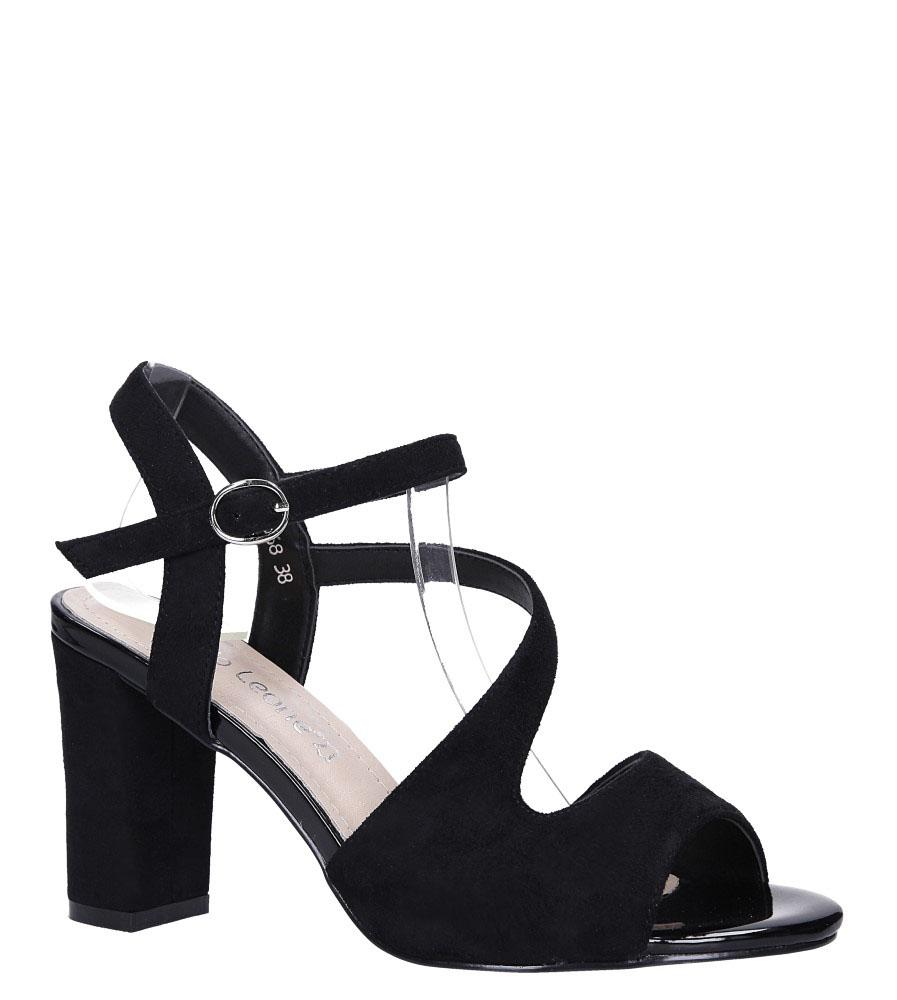 5b697fea4e678 ... Czarne sandały z paskiem przez środek na szerokim słupku Sergio Leone  SK868 model SK868 ...
