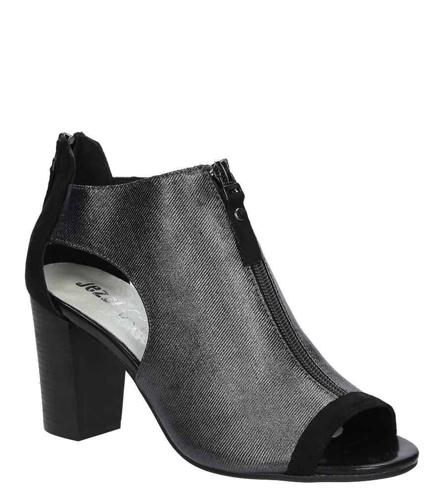 Czarne sandały zabudowane na słupku z ozdobnym suwakiem Jezzi SA37-10 producent Jezzi