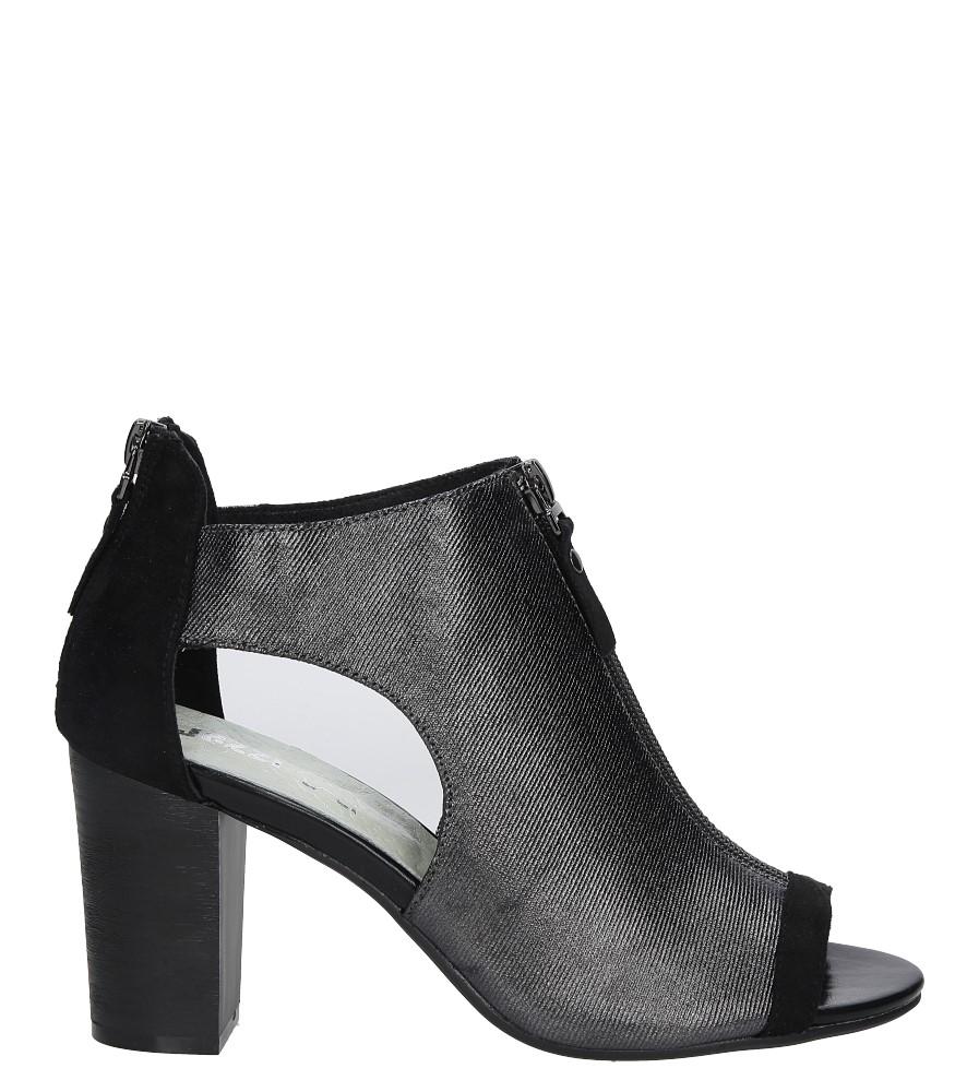 Czarne sandały zabudowane na słupku z ozdobnym suwakiem Jezzi SA37-10 sezon Lato