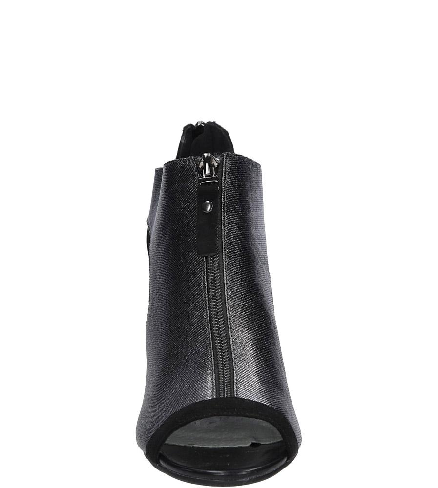 Czarne sandały zabudowane na słupku z ozdobnym suwakiem Jezzi SA37-10 kolor czarny