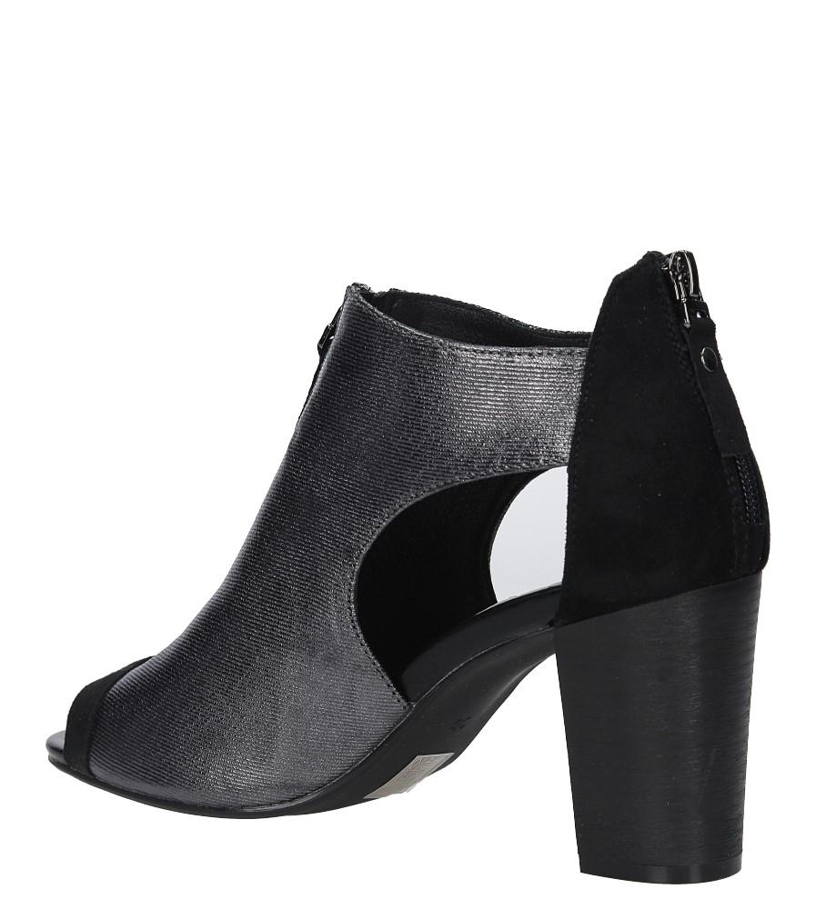 Czarne sandały zabudowane na słupku z ozdobnym suwakiem Jezzi SA37-10 wysokosc_obcasa 8 cm