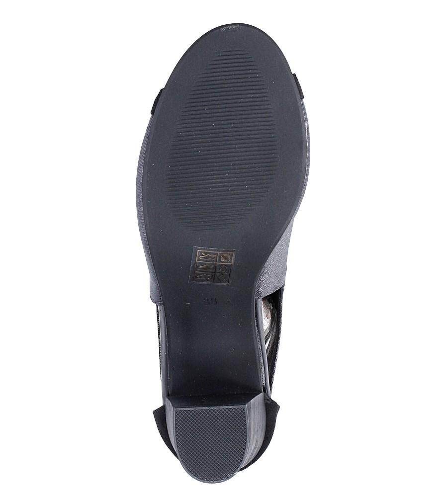 Czarne sandały zabudowane na słupku z ozdobnym suwakiem Jezzi SA37-10 wys_calkowita_buta 20 cm