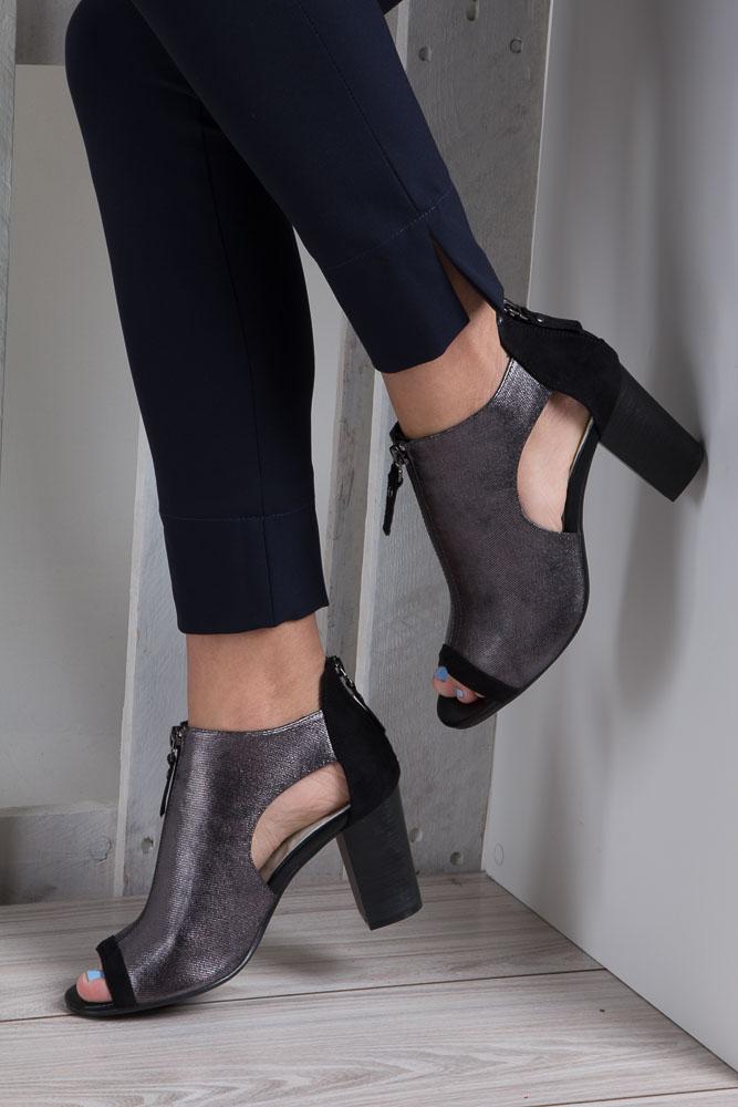 Czarne sandały zabudowane na słupku z ozdobnym suwakiem Jezzi SA37-10 wnetrze skóra ekologiczna