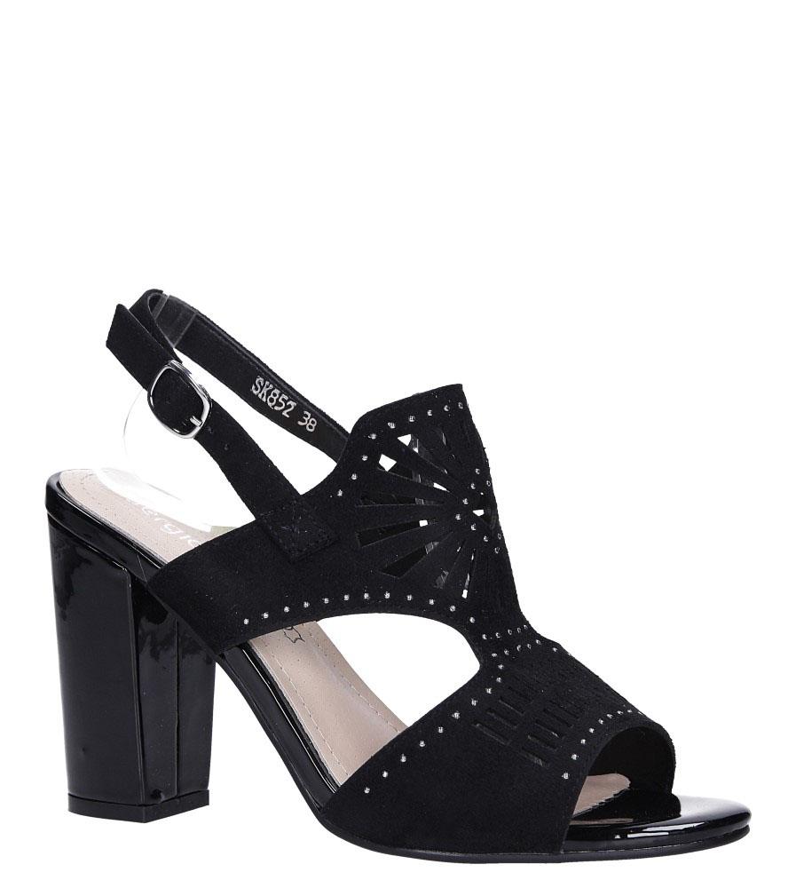 Czarne sandały zabudowane z nitami ażurowe na słupku Sergio Leone SK852