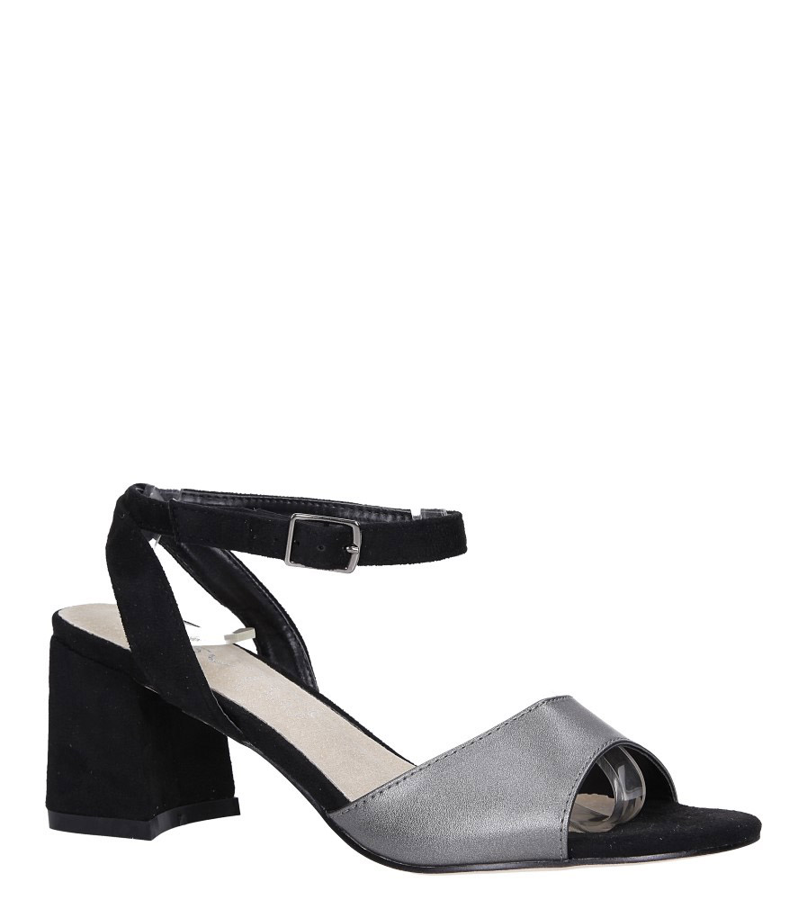 ffe07d1e3888 ... Czarne sandały ze skórzaną wkładką na szerokim obcasie z paskiem wokół  kostki Casu N19X5 PEB