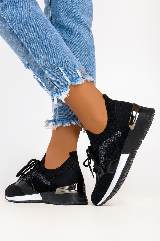 Czarne sneakersy Casu buty sportowe na ukrytym koturnie sznurowane 7-K2145A