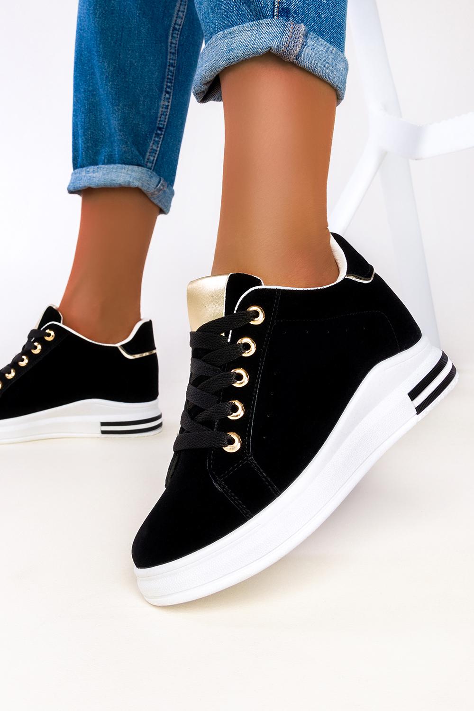Czarne sneakersy Casu buty sportowe na ukrytym koturnie sznurowane 7-K2162A